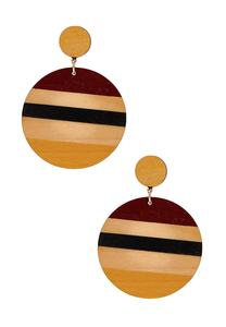 Stripe Wood Disc Earrings