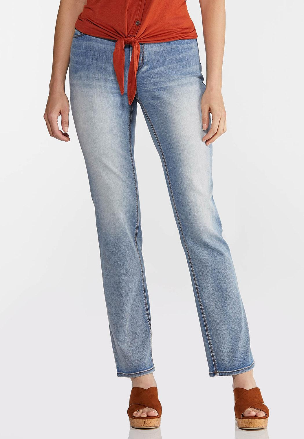 Faded High-Rise Straight Leg Jeans