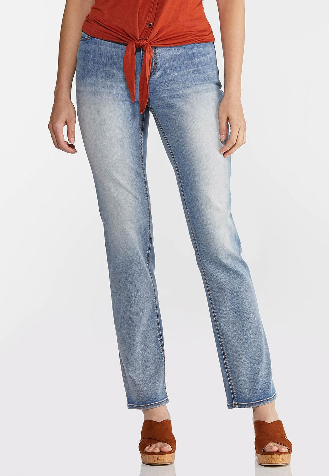 Petite Faded High-Rise Straight Leg Jeans