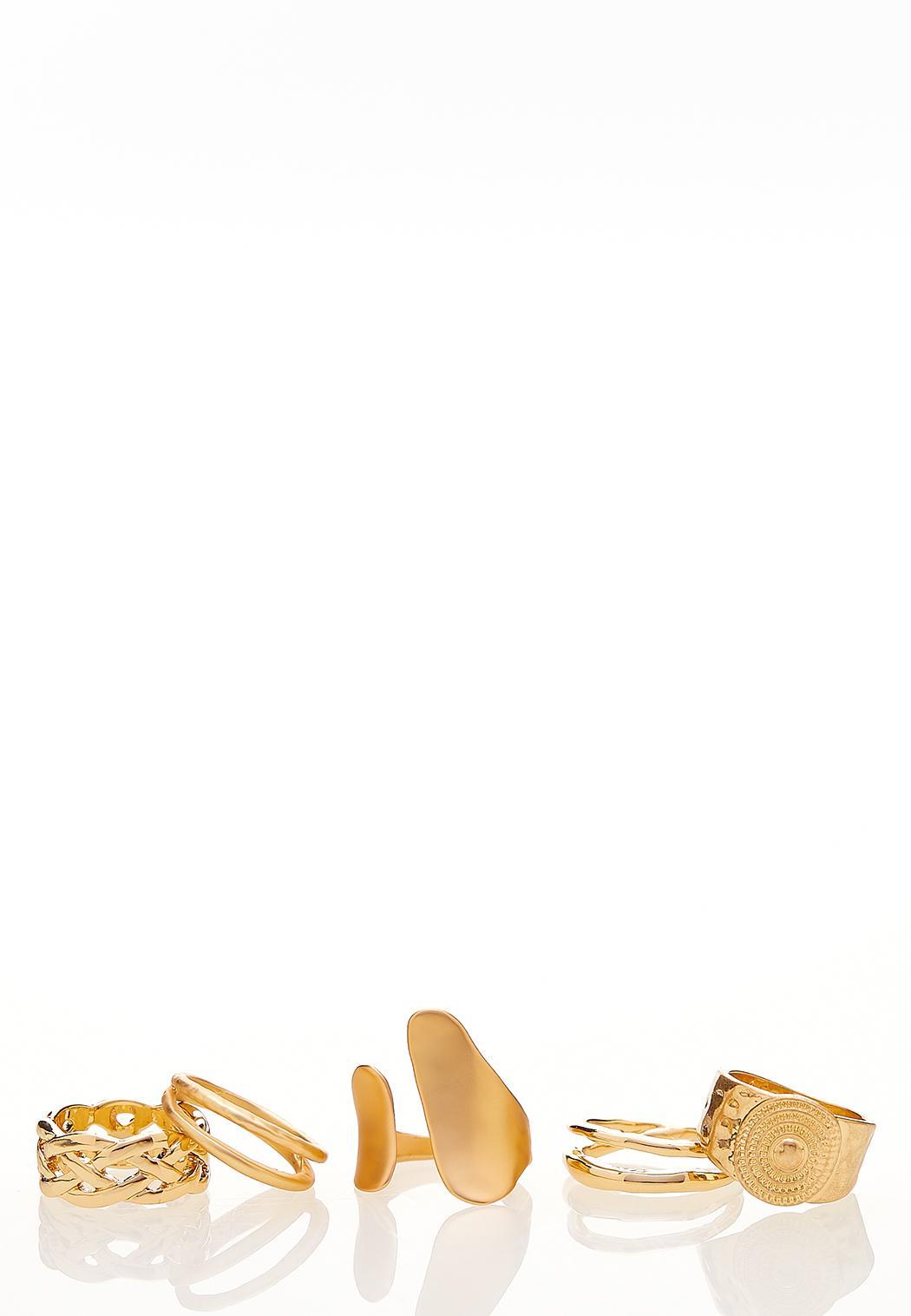 Brushed Gold Multi Ring Set