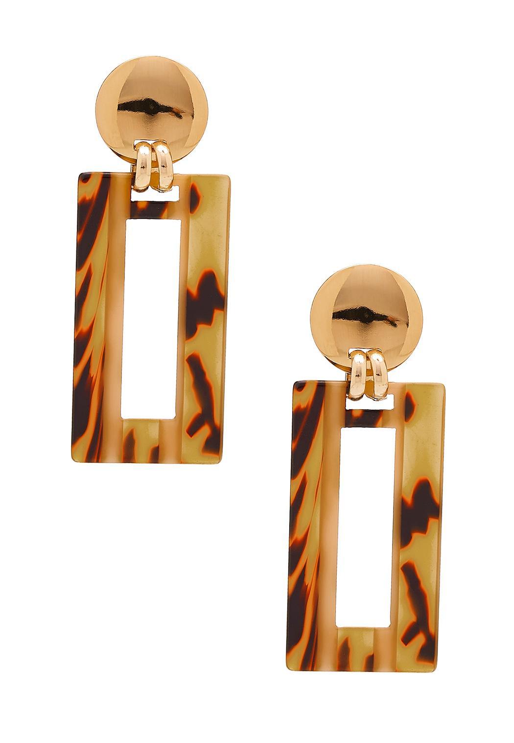 Cutout Rectangle Tort Earrings