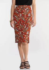 Plus Size Orange Paisley Pencil Skirt