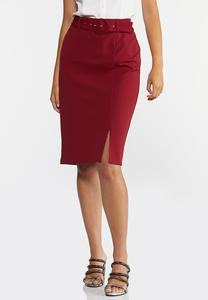 Plus Size Belted Pencil Skirt