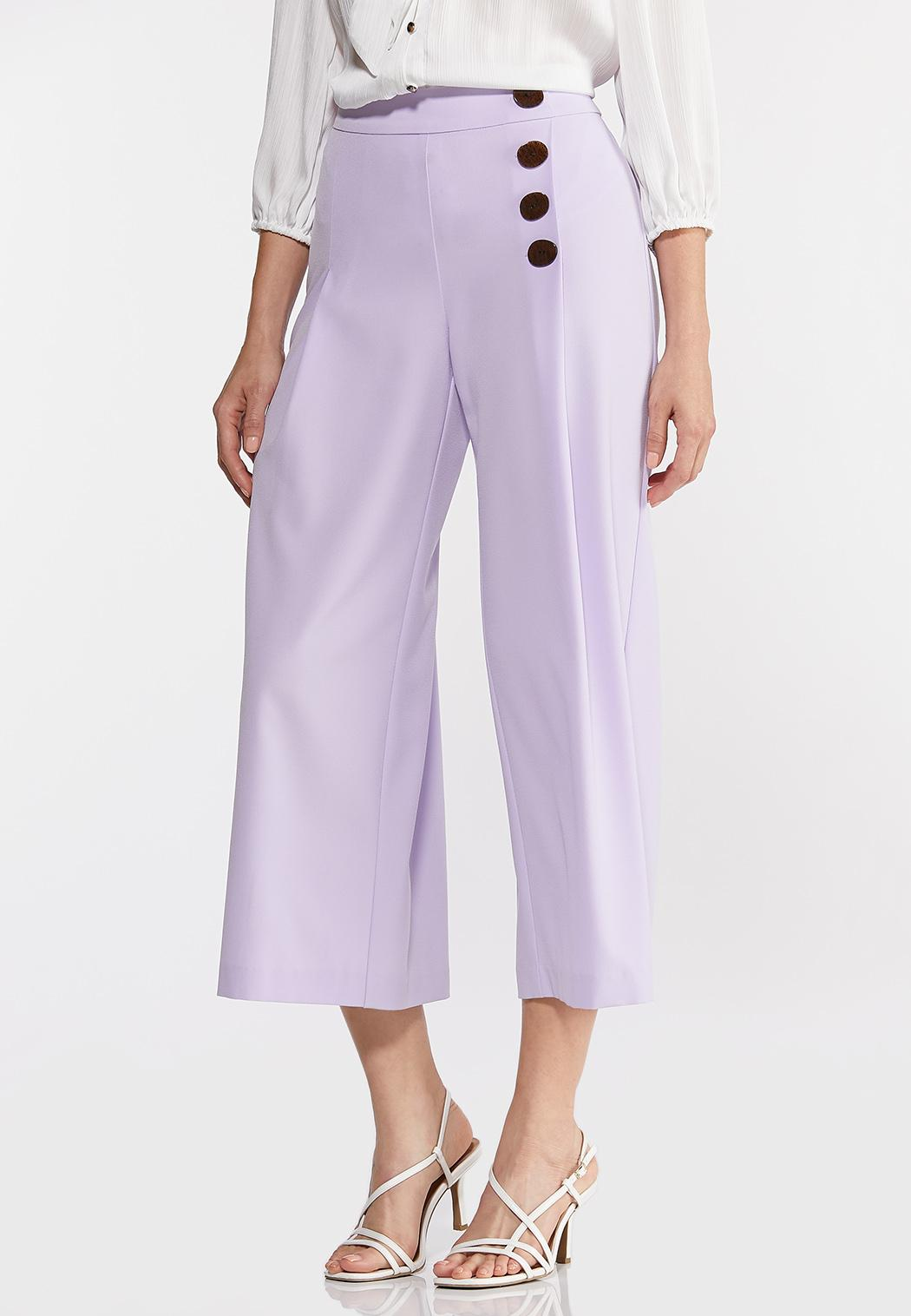 Cropped Button Front Pants