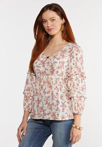 Plus Size Floral Sweetheart Top