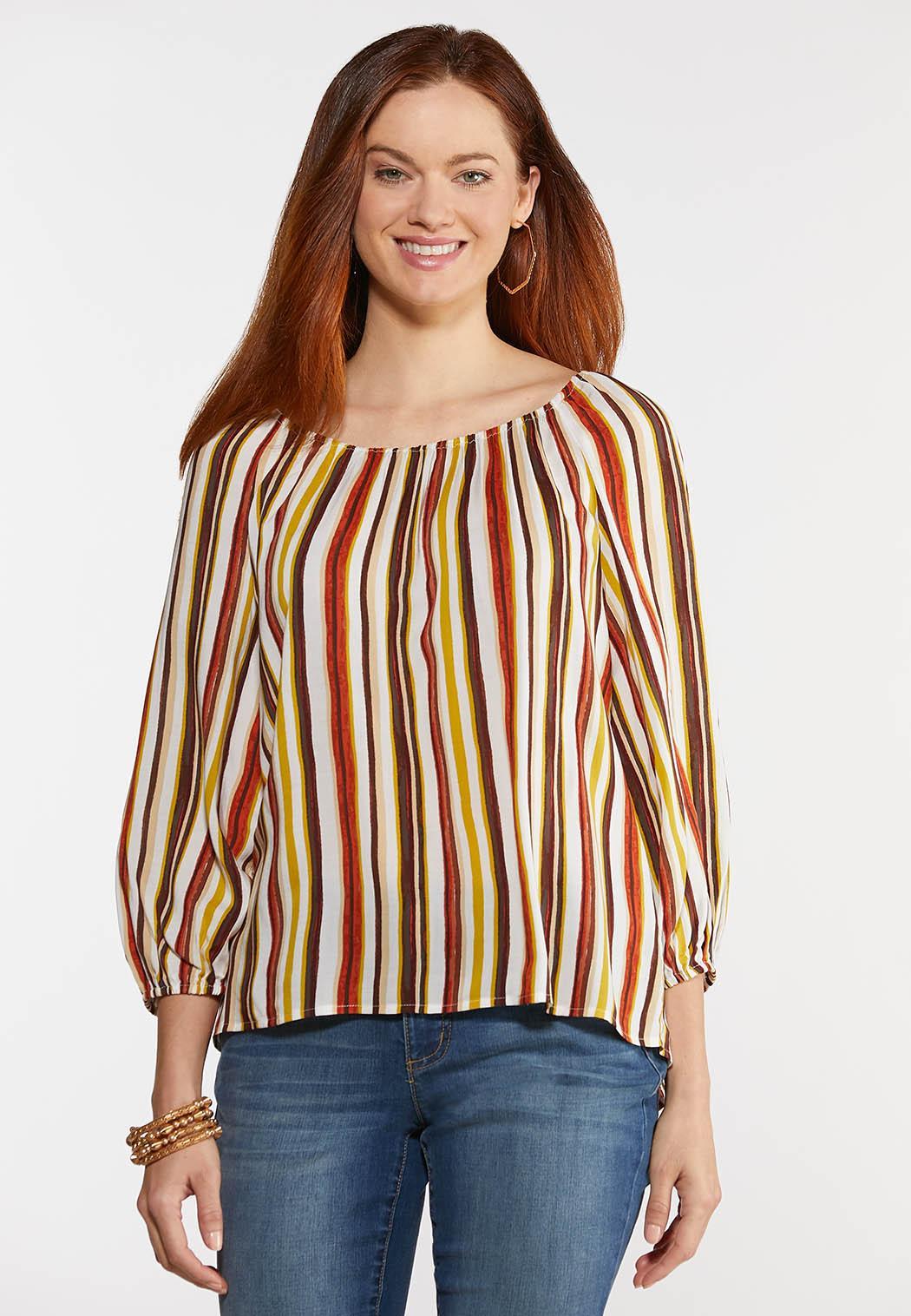 Plus Size Striped Balloon Sleeve Top