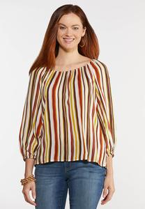 Plus Size Striped Balloon Sleeve Top