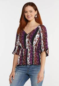 Plus Size Puff Sleeve Wrap Top