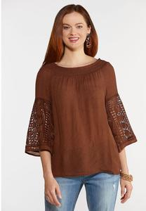 Smocked Crochet Sleeve Top