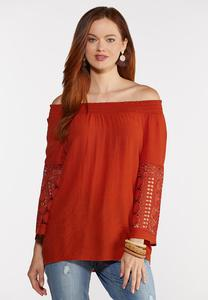 Plus Size Smocked Crochet Sleeve Top