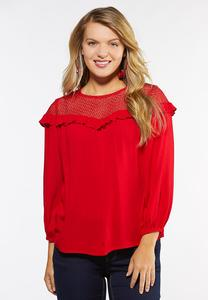 Plus Size Lace And Ruffle Poet Top