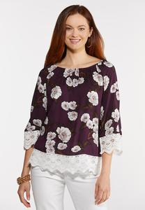 Plus Size Lace Trim Floral Top