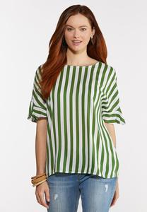 Plus Size Striped Button Back Top