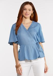 Plus Size Chambray Wrap Top