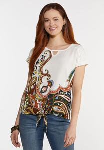 Plus Size Knotted Paisley Top