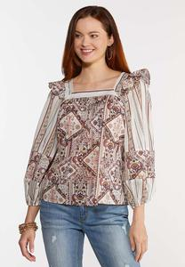 Plus Size Paisley Square Neck Poet Top