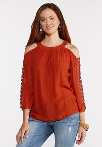 Plus Size Crochet Cold Shoulder Sleeve Top