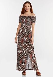 Petite Printed Off Shoulder Maxi Dress