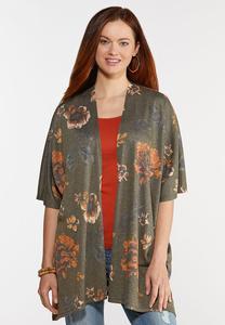 Plus Size Olive Floral Kimono