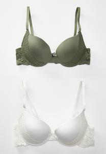 Plus Size Lace Panel Bra Set