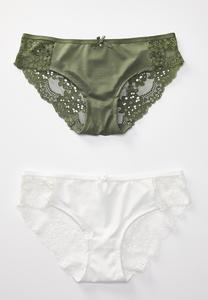 Plus Size White and Olive Panty Set