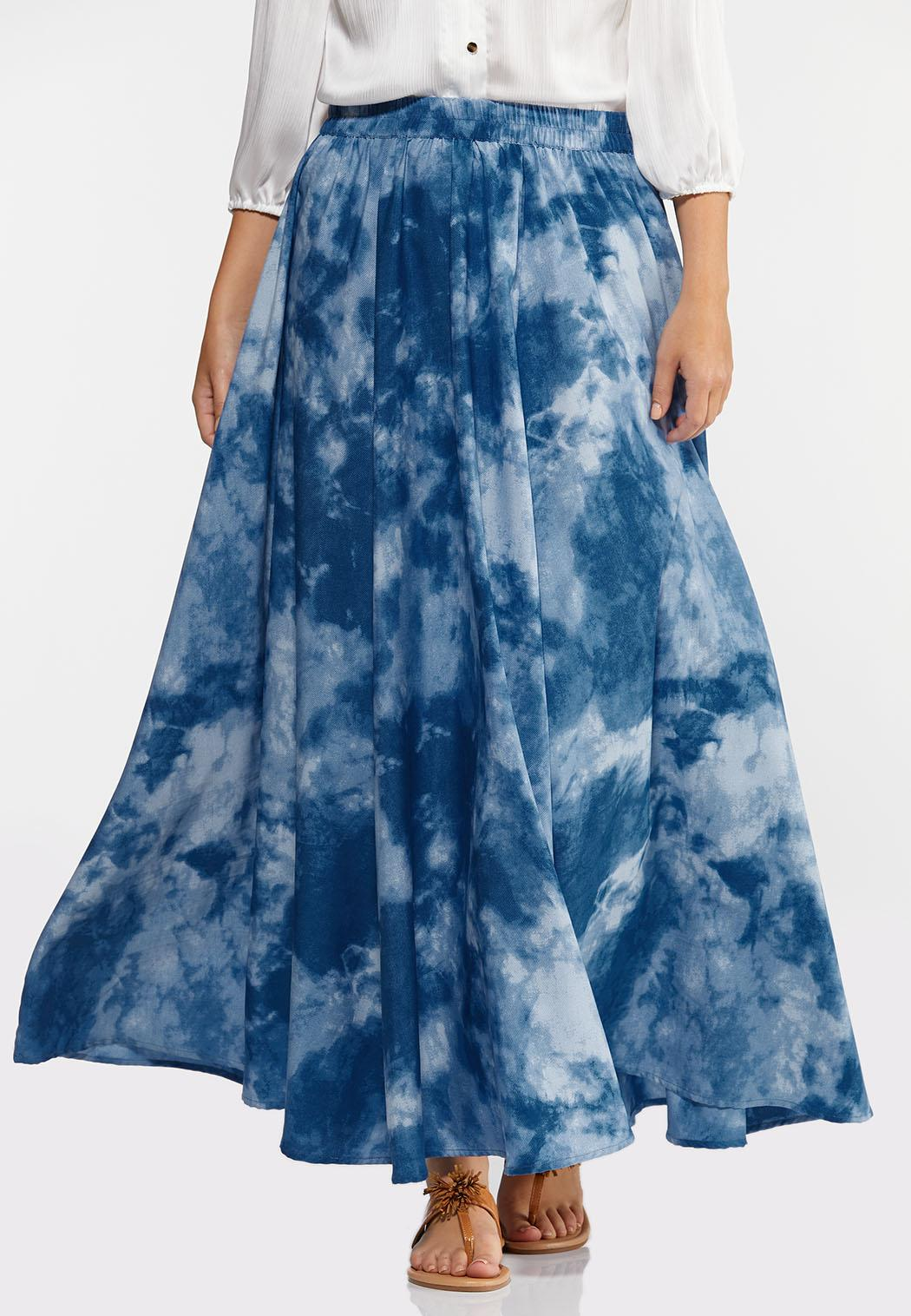 Sky Tie Dye Maxi Skirt