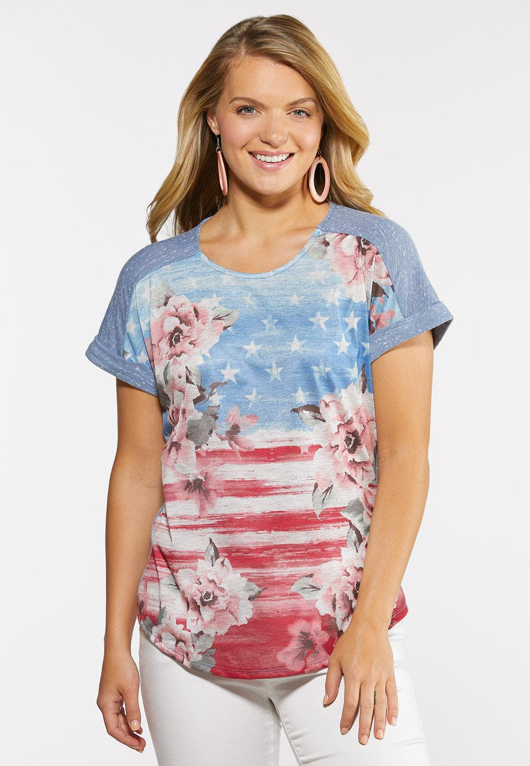 Plus Size Floral Americana Tee