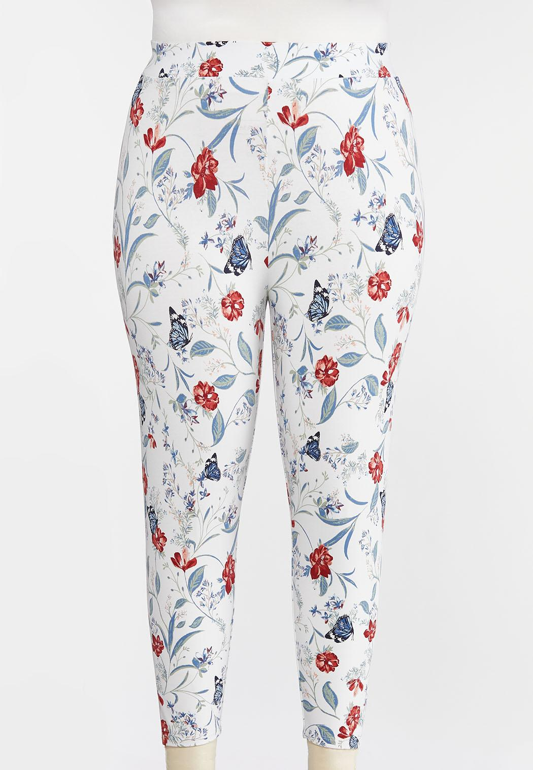 Plus Size Cropped Butterfly Leggings