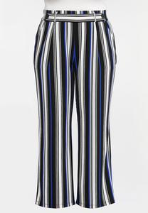 Plus Size Blue Stripe Palazzo Pants