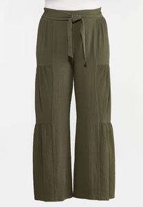 Plus Size Tiered Olive Pants