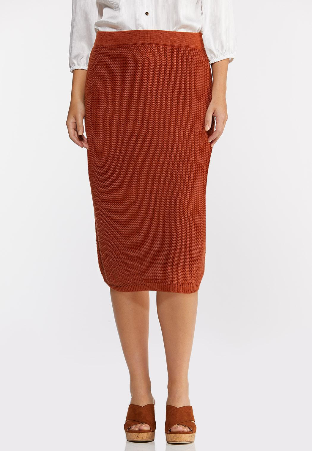 Plus Size Rust Sweater Skirt