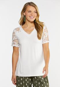 Plus Size Crochet V-Neck Tee