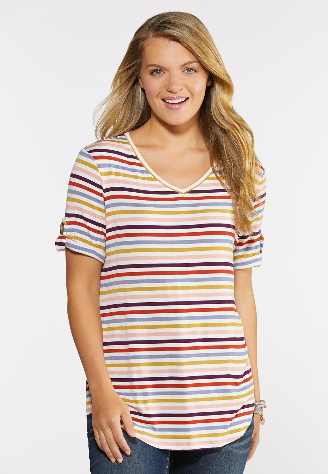 Plus Size Stripe Button Sleeve Tee
