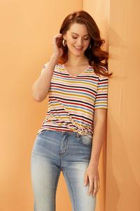 Plus Size Stripe Button Sleeve Tee