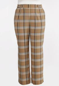 Plus Size Plaid Wide Leg Pants