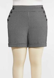 Plus Size Houndstooth Shorts