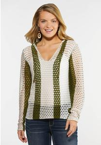 Green Stripe Pointelle Sweater