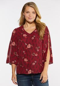 Embellished Split Sleeve Top