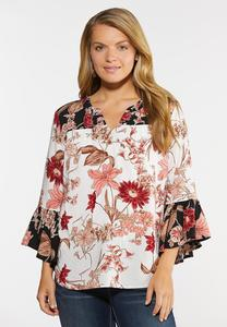 Pink Sketch Floral Poet Top