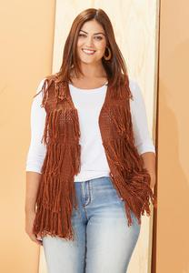Plus Size Yarn Tasseled Vest