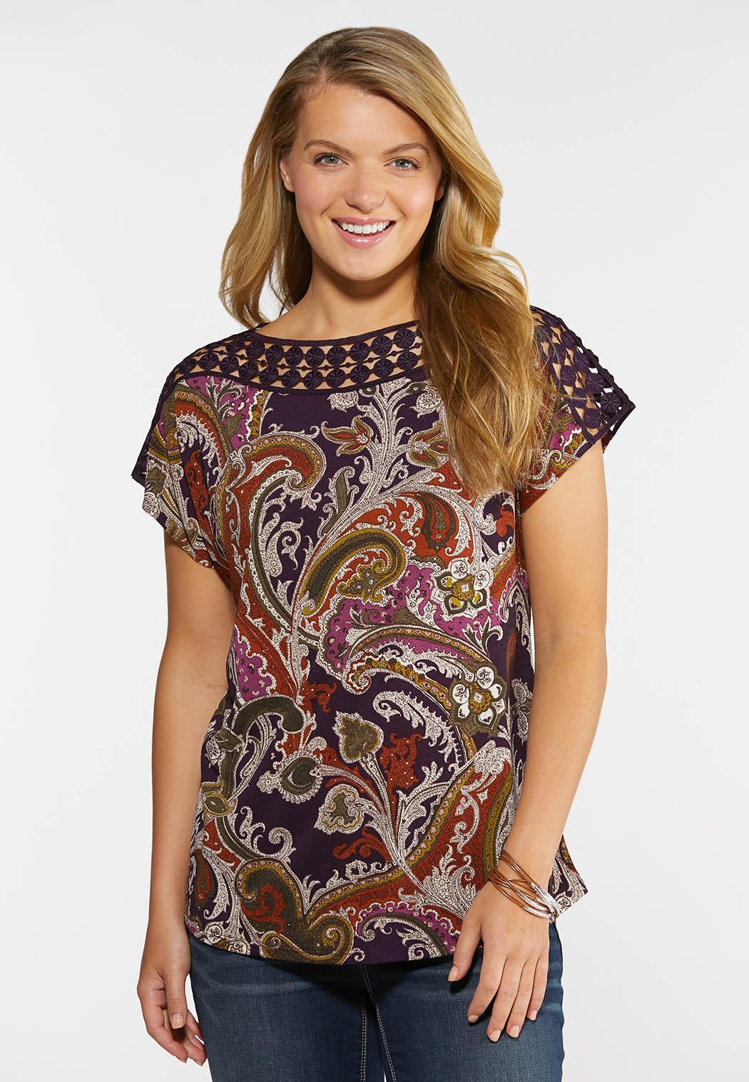 Plus Size Purple Paisley Top
