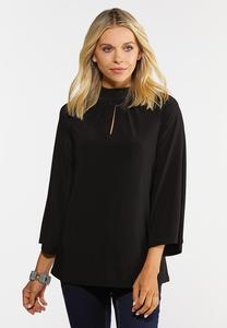 Plus Size Cutout Mock Neck Top