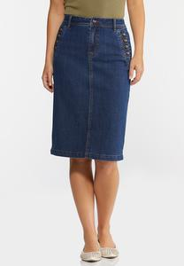 Button Pocket Denim Skirt