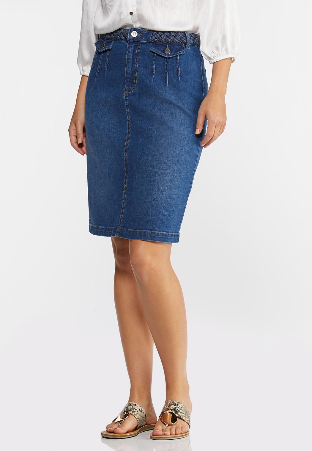 Braided Denim Skirt