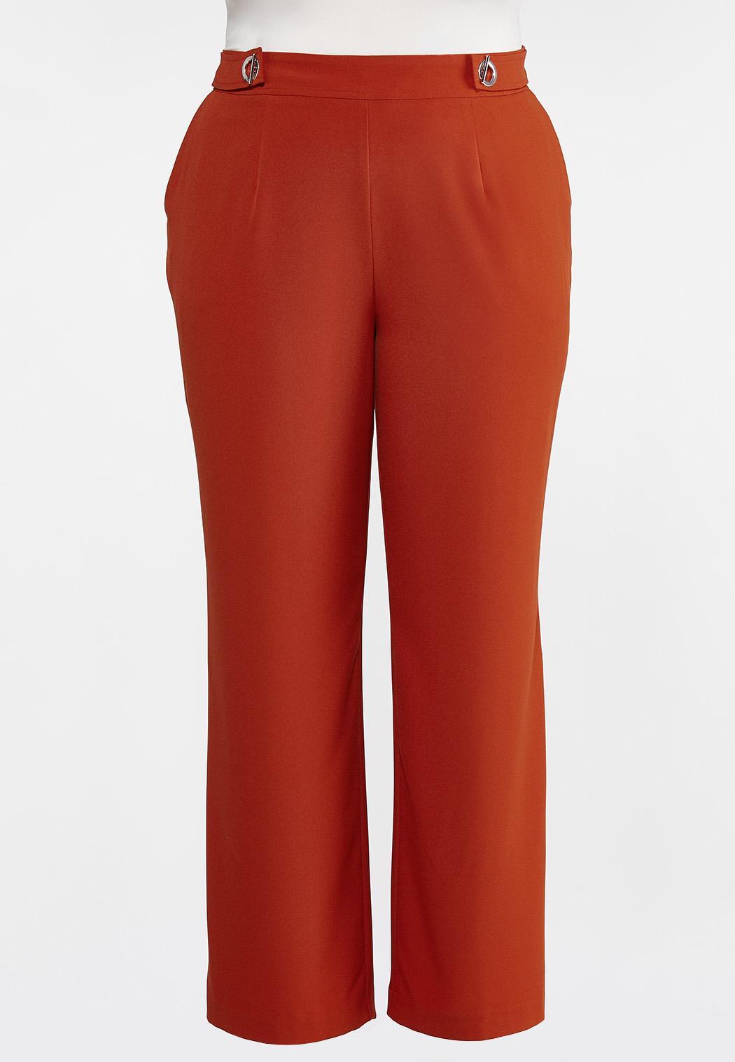 Plus Size Solid Grommet Waist Pants