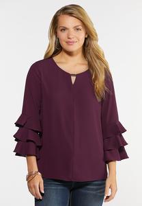 Plus Size Triple Ruffled Sleeve Top