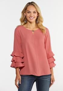 Plus Size Triple Ruffled Sleeve Top