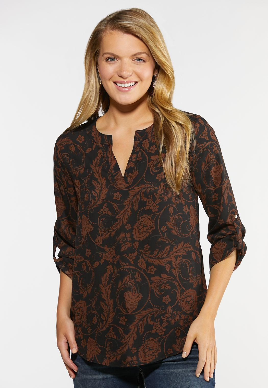 Plus Size Paisley Print Pullover Top