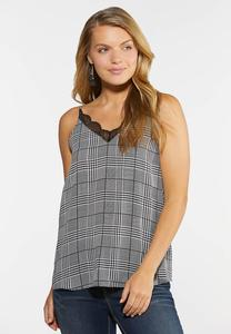 Plus Size Houndstooth Lace Trim Tank