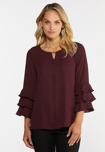 Triple Ruffled Sleeve Top